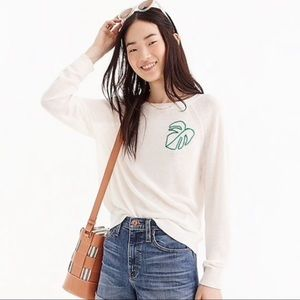 J. Crew Lightweight Embroidered Palm Leaf Sweater